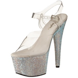 Plata 18 cm Pleaser BEJEWELED-708DM Strass Plataforma Tacones Altos