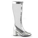 Plata 8,5 cm GOGO-307 malla botas de mujer tacón altos