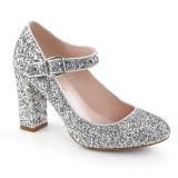 Plata 9 cm SABRINA-07 zapatos de salón tacón ancho