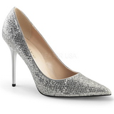 Plata Brillo 10 cm CLASSIQUE-20 Stiletto Zapatos Tacon de Aguja