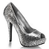Plata Brillo 13,5 cm TWINKLE-18G Plataforma Zapatos de Salón Peep Toe