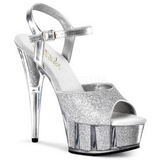 Plata Brillo 15 cm DELIGHT-609-5G Tacones Altos Plataforma
