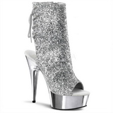 Plata Brillo 15 cm Pleaser DELIGHT-1018G Plataforma Botines Altos
