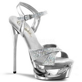 Plata Brillo 16,5 cm Pleaser ECLIPSE-619G Stilettos Tacón de Aguja