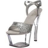 Plata Brillo 18 cm SKY-310 Plataforma Zapatos de Tacón Alto