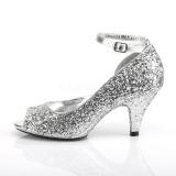 Plata Brillo 7,5 cm BELLE-381G zapatos de salón punta abierta