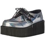 Plata CREEPER-218 Zapatos de Creepers Mujeres Plataforma