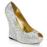 Plata Cristal Piedra 13,5 cm ISABELLE-18 Zapato Salón Cuña Alta