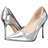 Plata Mate 10 cm CLASSIQUE-20 Stiletto Zapatos Tacón de Aguja