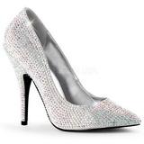 Plata Piedras Strass 13 cm SEDUCE-420RS Zapatos de Salón