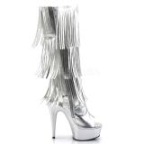 Plata Polipiel 15 cm DELIGHT-2019-3 botas con flecos de mujer tacón altos
