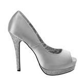 Plata Satinado 13,5 cm BELLA-12R Strass Plataforma Zapato Salón