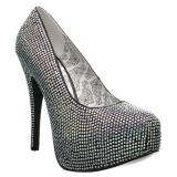Plata Strass 14,5 cm Burlesque TEEZE-06RW zapatos de salón pies anchos hombre