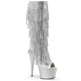 Plata Strass 18 cm ADORE-2024RSF botas con flecos de mujer tacón altos
