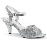 Plata brillo 8 cm BELLE-309G Zapatos para travestis