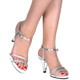 Plata piedras strass 8 cm BELLE-316 Zapatos para travestis