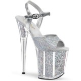 Plata purpurina 20 cm Pleaser FLAMINGO-810G Zapatos con tacones pole dance