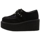 Polipiel Negro CREEPER-206 Zapatos de Creepers Mujeres Plataforma