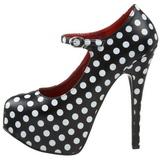 Puntos Blancos 14,5 cm Burlesque TEEZE-08 Negro Plataforma Zapatos de Salón