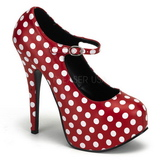 Puntos Blancos 14,5 cm Burlesque TEEZE-08 Rojo Plataforma Zapatos de Salón