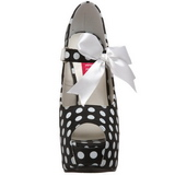 Puntos Blancos 14,5 cm Burlesque TEEZE-25 Negro Plataforma Zapatos de Salón
