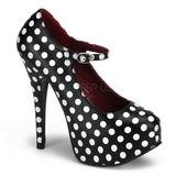 Puntos Blancos 14,5 cm TEEZE-08 Negro Plataforma Zapatos de Salón