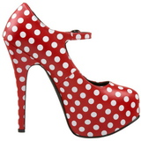 Puntos Blancos 14,5 cm TEEZE-08 Rojo Plataforma Zapatos de Salón