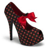 Puntos Rojo 14,5 cm TEEZE-25 Negro Plataforma Zapatos de Salón