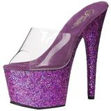 Purple 18 cm ADORE-701LG glitter platform mules womens