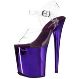 Purple 20 cm FLAMINGO-808 Chrome Platform High Heels