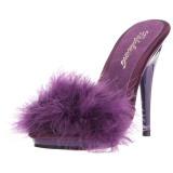 Purpura 13 cm POISE-501F Tacón plumas de marabu Mules Calzado