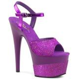 Purpura 18 cm ADORE-709-2G brillo plataforma sandalias de tacón alto