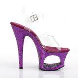 Purpura 18 cm MOON-708LG brillo plataforma sandalias de tacón alto
