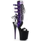 Purpura 20 cm FLAMINGO-800-38 gladiador sandalias hasta la rodilla con hebillas
