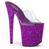 Purpura 20 cm FLAMINGO-801LG brillo plataforma zuecos tacón mujer