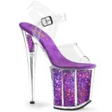 Purpura 20 cm FLAMINGO-808GF brillo plataforma sandalias de tacón alto