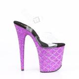 Purpura 20 cm FLAMINGO-808MSLG brillo plataforma sandalias de tacón alto