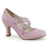 Purpura 7,5 cm FLAPPER-35 Pinup zapatos de salón tacón bajo