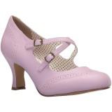Purpura 7,5 cm retro vintage FLAPPER-35 Pinup zapatos de salón tacón bajo