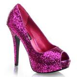Purpura Brillo 13,5 cm TWINKLE-18G Plataforma Zapatos de Salón Peep Toe