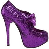 Purpura Brillo 14,5 cm Burlesque TEEZE-10G Platform Calzado de Salón