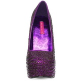 Purpura Piedras Strass 14,5 cm Burlesque TEEZE-06R Plataforma Zapato Salón
