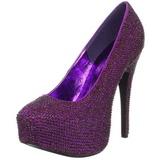 Purpura Piedras Strass 14,5 cm TEEZE-06R Plataforma Zapato Salón