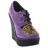 Purpura Polipiel CREEPER-304 zapatos de cuñas creepers mujer