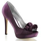 Purpura Satinado 12 cm LUMINA-42 Zapato Salón de Noche con Tacón