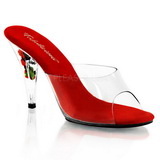 Red Transparent 11 cm Pleaser CARESS-401FL Platform High Mules