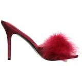 Rojo 10 cm CLASSIQUE-01F zuecos mujer con plumas de marabu