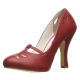 Rojo 10 cm SMITTEN-20 Pinup zapatos de salón tacón bajo