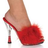 Rojo 12,5 cm GLITZY-501-8 Tacón plumas de marabu Mules Calzado