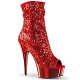 Rojo 15 cm DELIGHT-1008SQ botines con lentejuelas de mujer